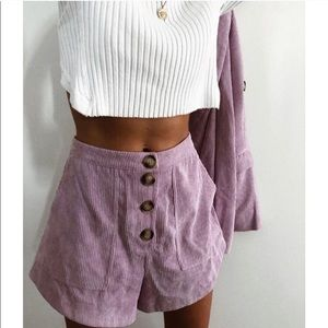 Lilac corduroy high waisted shorts
